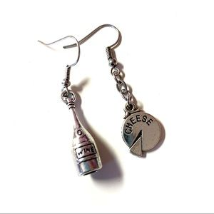 Silver Tone Wine Bottle and Cheese Wheel Earrings